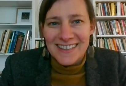 Marie Kapretz durant la videoconferència | ACEB