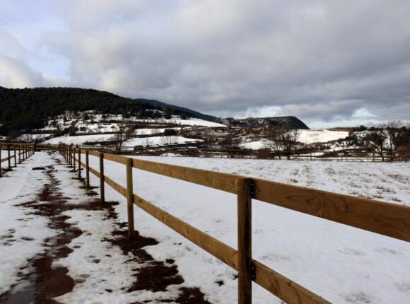 tancat de fusta instal·lat a la finca de Bellver de Cerdanya on s'ubicarà el centre de rehabilitació de cavalls Equí Salut.