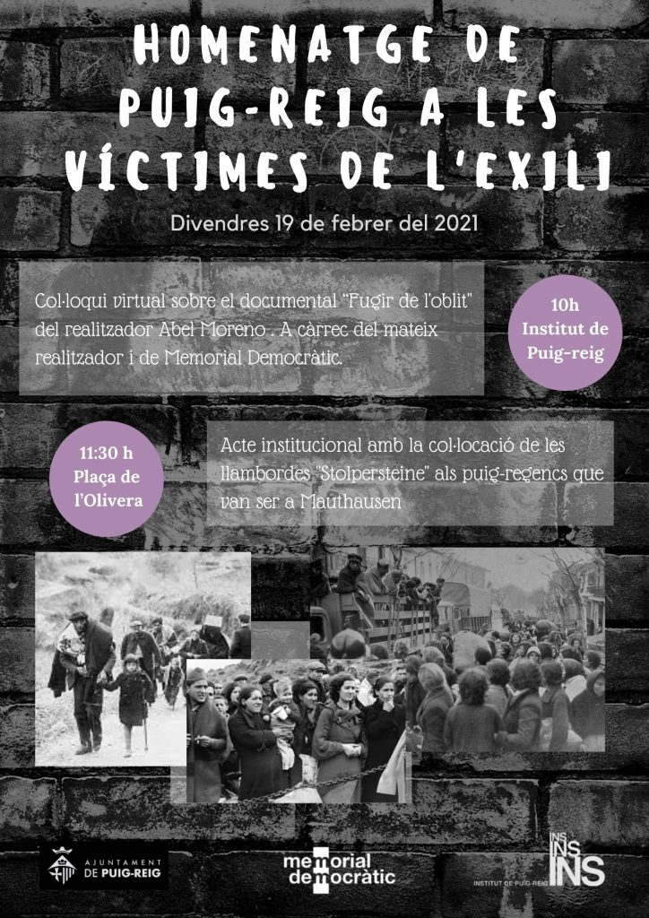 Col·locació de llambordes en homenatge a les víctimes de l'exili
