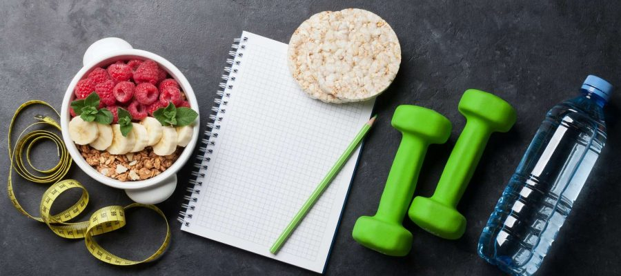 Healthy food and fitness concept