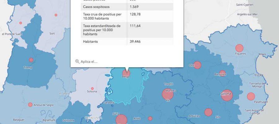 L'estat de la pandèmia al Berguedà. El mapa mostra el nombre de casos acumulats per municipi de Catalunya l'11 de maig de 2020 (Foto: http://aquas.gencat.cat).
